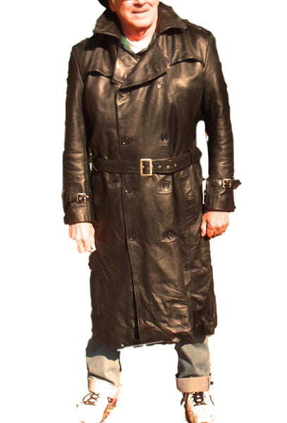 CD D C Mens Nappa Sheepskin Leather Traditional Belted Long Trench Coat Black