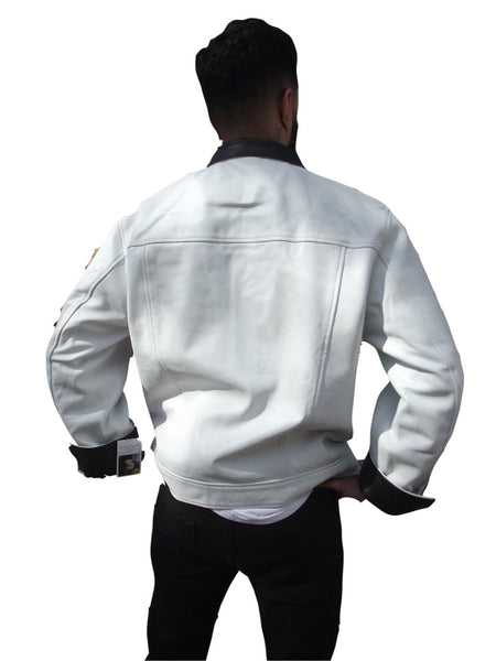 Mens Leather Jacket White flip cuff Snakeskin embossed inner cuff & collar