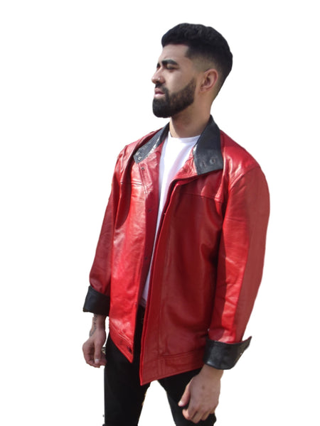 Mens Leather Jacket Red flip cuff Snakeskin embossed inner cuff & collar