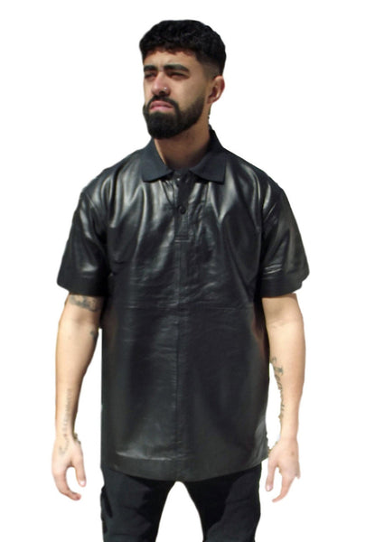 black genuine leather polo shirt front