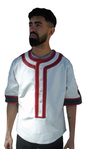 White leather baseball jersey