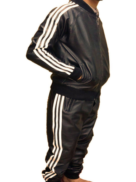 Mens Leather Jacket Black Track Celebrity Style ( Pharrel Williams ) Nappa Sheepskin