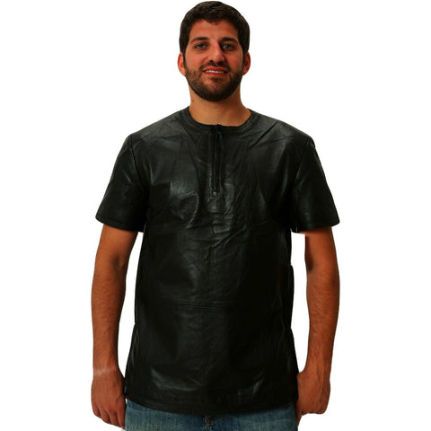 Mens black leather 1/4 zip up tee front