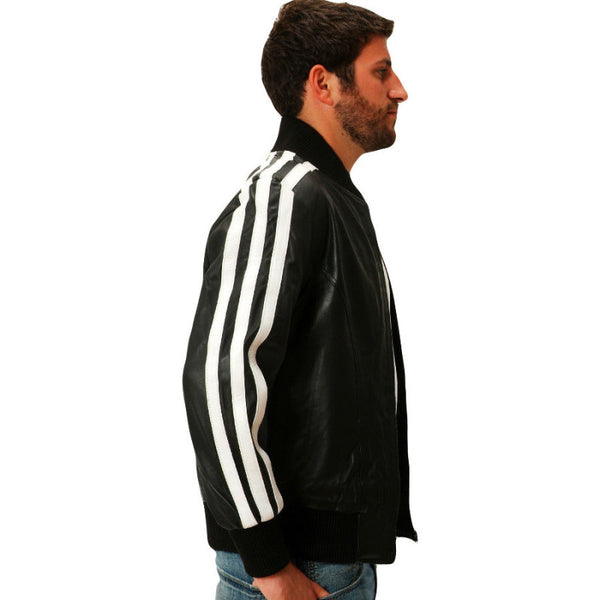 Mens black leather track jacket side