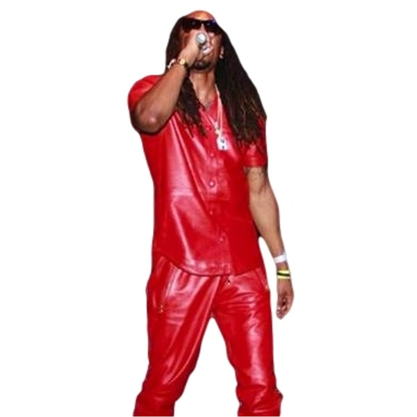 mens red leather baseball jersey front
