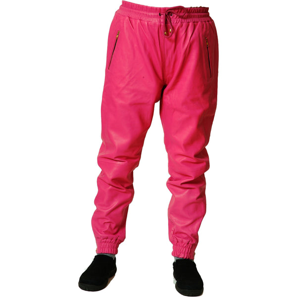 temperament shoes various styles structural disablities Mens Leather Joggers Pink Sweat Pants Relaxed Fit Smooth Nappa Sheepskin  Red Liner