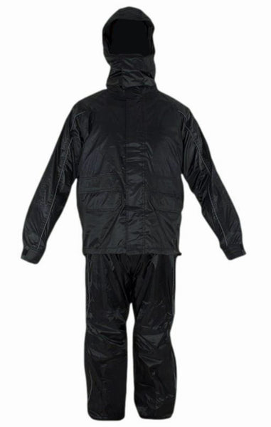 CD D C Mens 2 Piece Black Biker Motorcycle Hooded Rain Suits S to 4XL