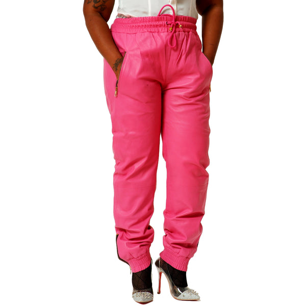 Womens Pink leather joggers front