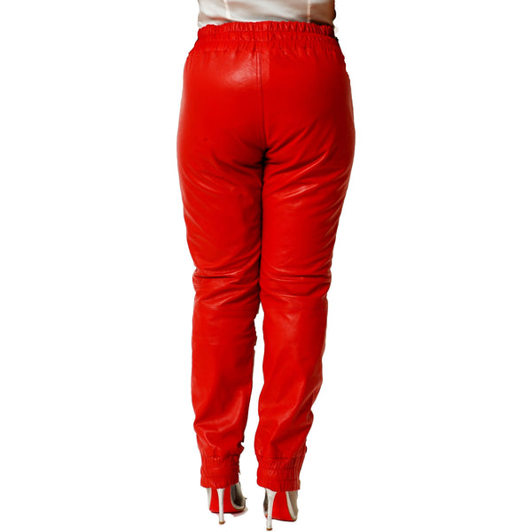 Womens Red leather joggers back