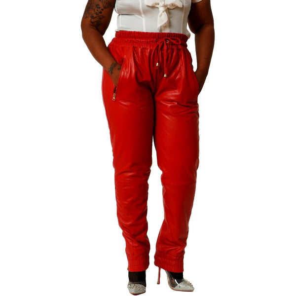 Womens Red leather joggers front 1