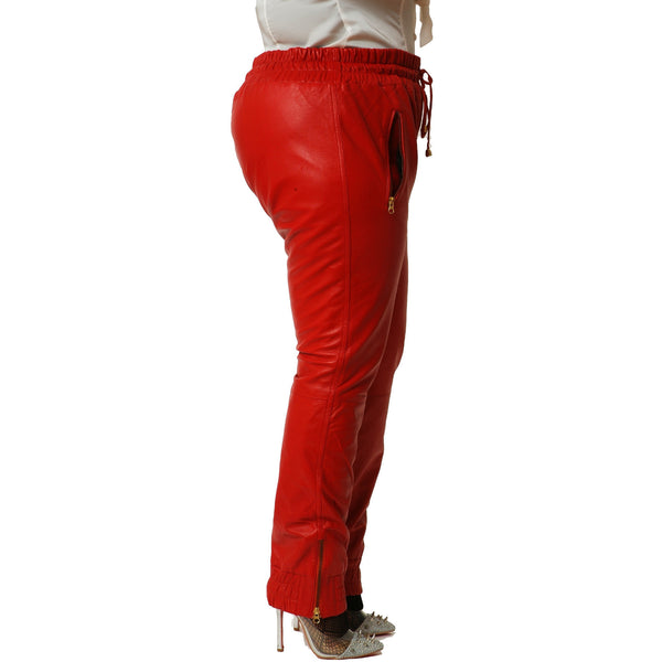 Womens Red leather joggers side