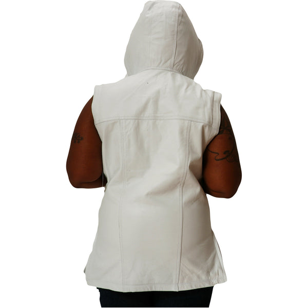 Womens white leather hooded tee back 1