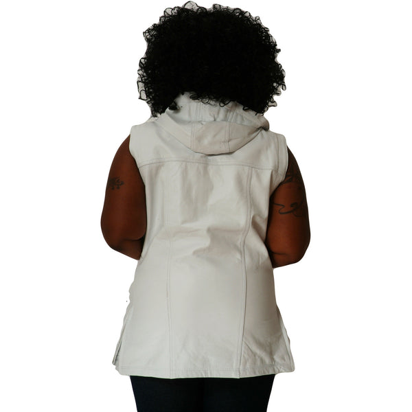 Womens white leather hooded tee back