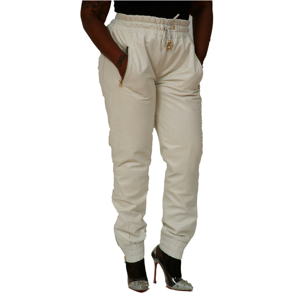 Womens White leather joggers front
