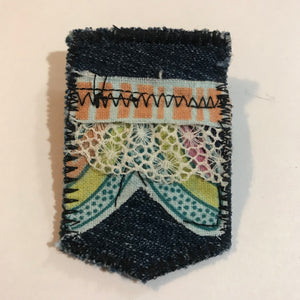 Lacey Salvaged Stitches Fabric Brooch