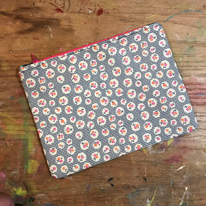 Large Flat Pouch Vintage feed sack inspired fabric  Fabric