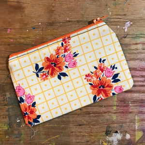 Small Notions Pouch / Coin Purse Retro Yellow and Orange Flowers