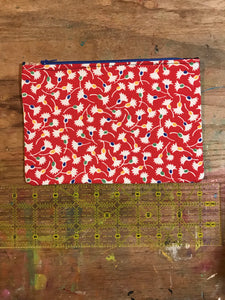 Large Flat Pouch Red Vintage OOAK Fabric