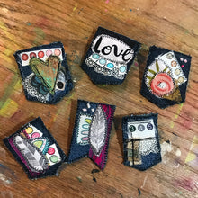 Load image into Gallery viewer, Lacey Salvaged Stitches Fabric Brooch