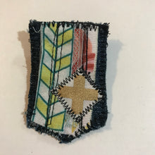 Load image into Gallery viewer, Gold Cross Salvaged Stitches Fabric Brooch