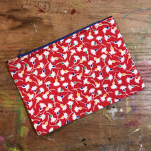 Load image into Gallery viewer, Large Flat Pouch Red Vintage OOAK Fabric
