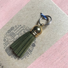 Load image into Gallery viewer, Olive green Tassel Stitch Marker, Planner Charm