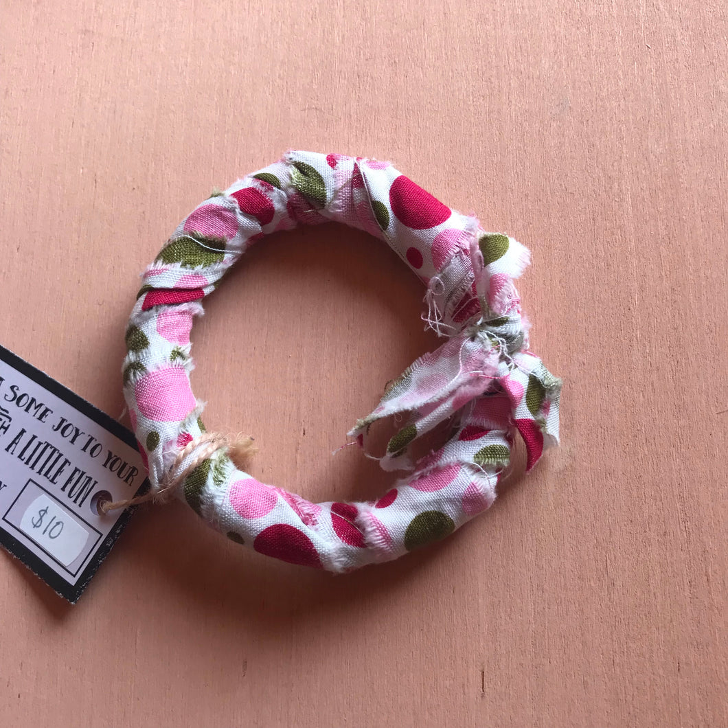 Pink and Gold Fabric Bangle Bracelet