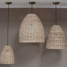 Load image into Gallery viewer, Noko Natural Wicker Conical Pendant