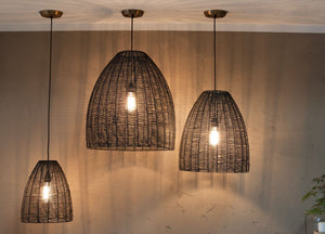 Noko Black Wicker Conical Pendant