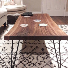 Load image into Gallery viewer, Walnut Slab Coffee Table with Cast Iron Hairpin Legs