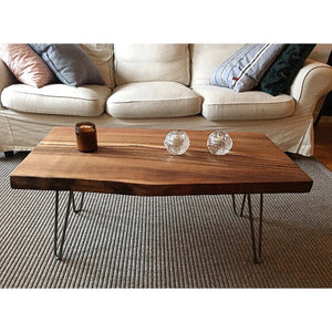 Walnut Slab Coffee Table with Cast Iron Hairpin Legs