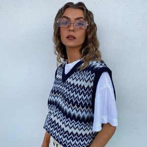 Chevron Vest - Navy - FLXNfashion