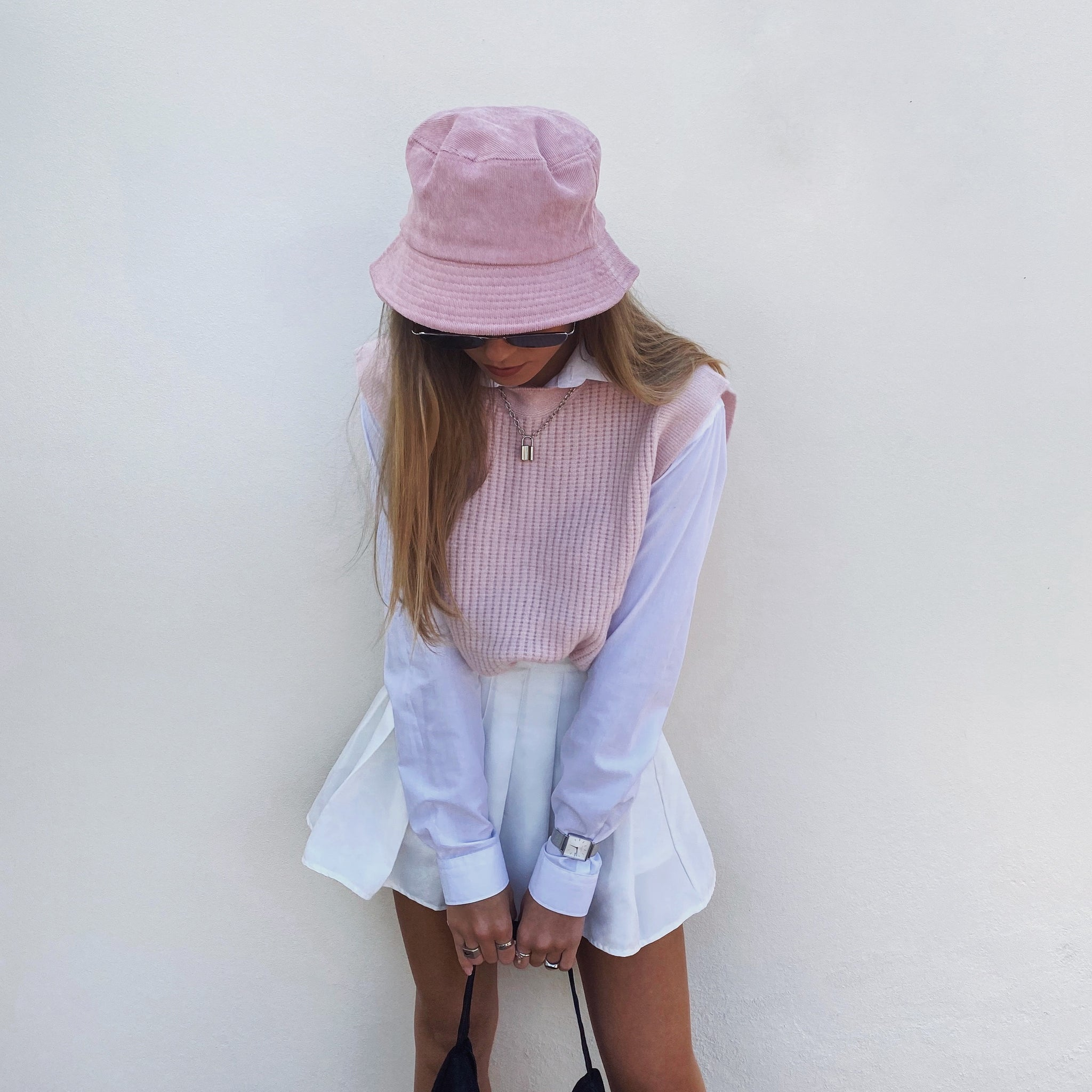 THE WAFFLE KNIT VEST - Baby Pink - FLXNfashion