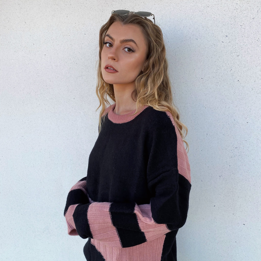 Textured Knit Sweat - Dusty Rose - FLXNfashion