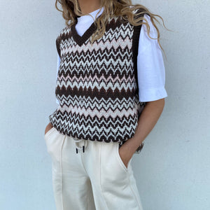 Chevron Vest - Brown - FLXNfashion