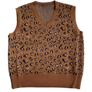 Leopard Print Sleeveless Sweater - Brown - FLXNfashion