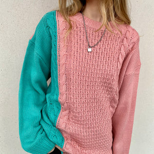 Two Tone Cable Knit Sweat - Pink - FLXNfashion
