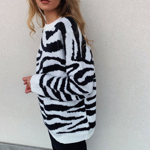 Zebra Heavy Knit Sweater - FLXNfashion