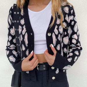 Leopard Knit Cardigan - Black - FLXNfashion