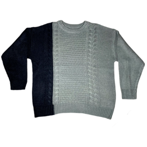 Two Tone Cable Knit Sweat - Graphite - FLXNfashion