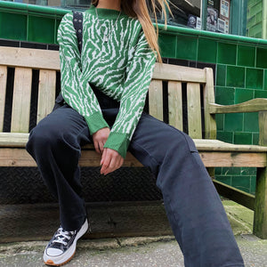 Green Zebra Heavy Knit Sweater - FLXNfashion