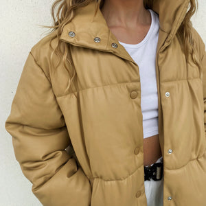 Faux Leather Puffer Jacket - Caramel - FLXNfashion