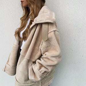 Faux Shearling Jacket - Beige - FLXNfashion