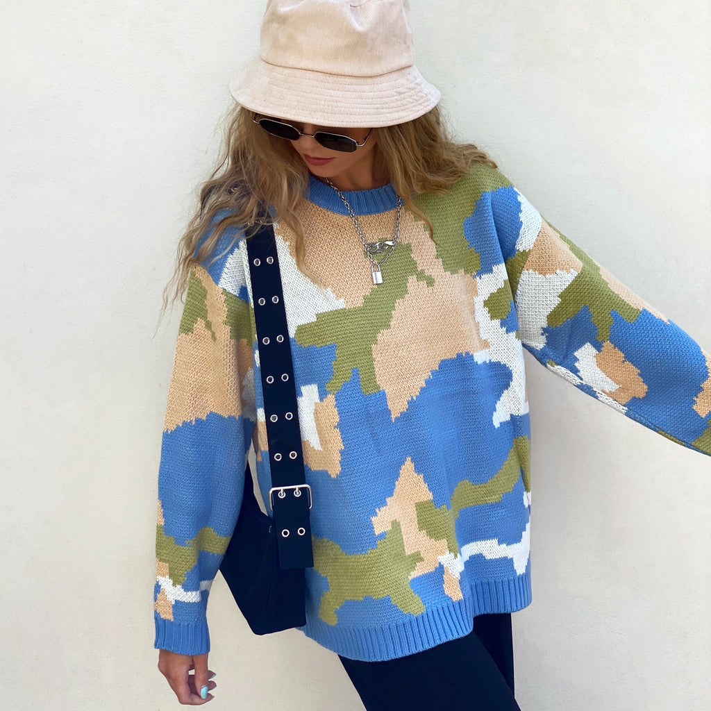Earth Camo Heavy Knit Sweater - FLXNfashion