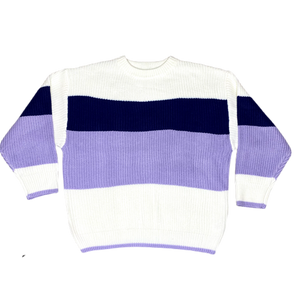 Striped Heavy Knit Sweater - Purple - FLXNfashion