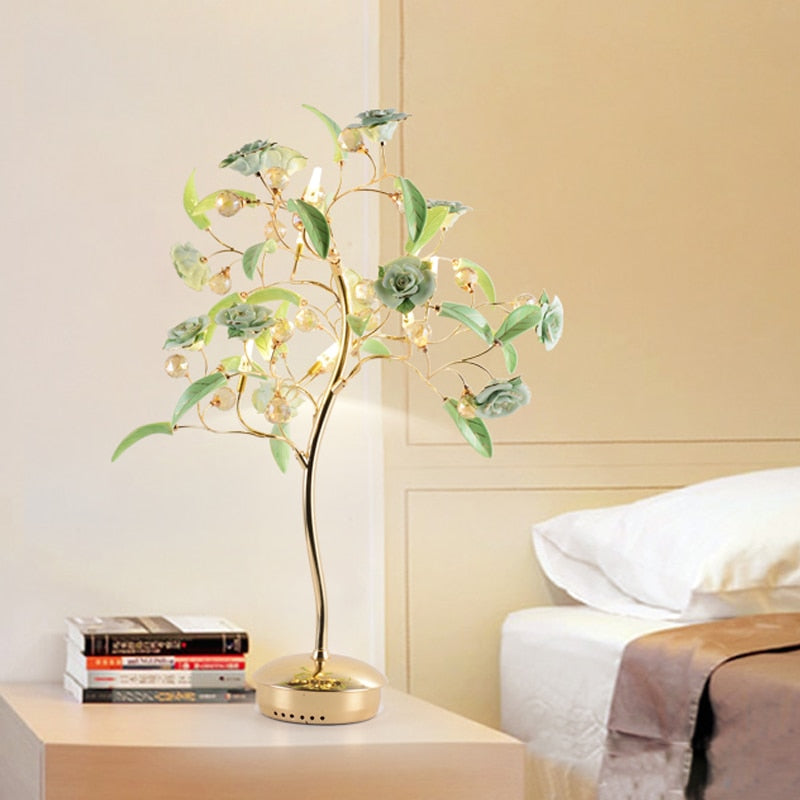 Crystal Flower Table Lamp