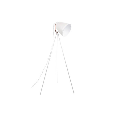 Floor Lamp Mingle 3 Legs Metal White, copper accent