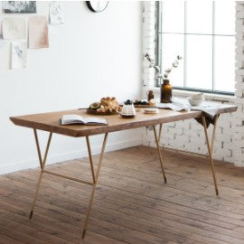 NEW YORKER Woodslab Table 1800 Gold Legs (accept pre-order)