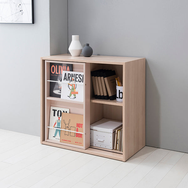 RUDI 2-Level Sliding Bookshelf and Top Cabinet with Doors (accept pre-order)