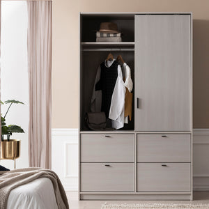 Toffee Sliding Door Wardrobe - Drawer Type (accept pre-order)